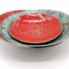 Coupoles en métal rouge et turquoise en version large et mini