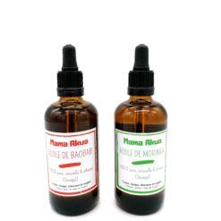bouteille d'huile de baobab et bouteille d'huile de moringa