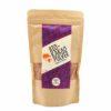 Paquet de la poudre de cacao fortement dégraissée, bio et équitable sur fond blanc.