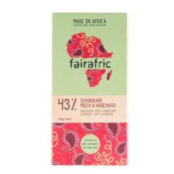 Emballage du chocolat 43 % au lait et noisette bio et équitable de Mama Akua.